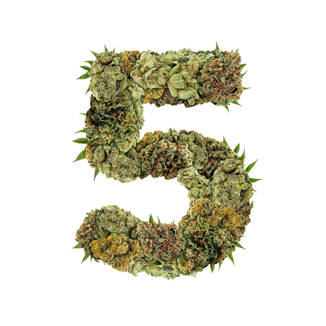 weed in the shape of a 5