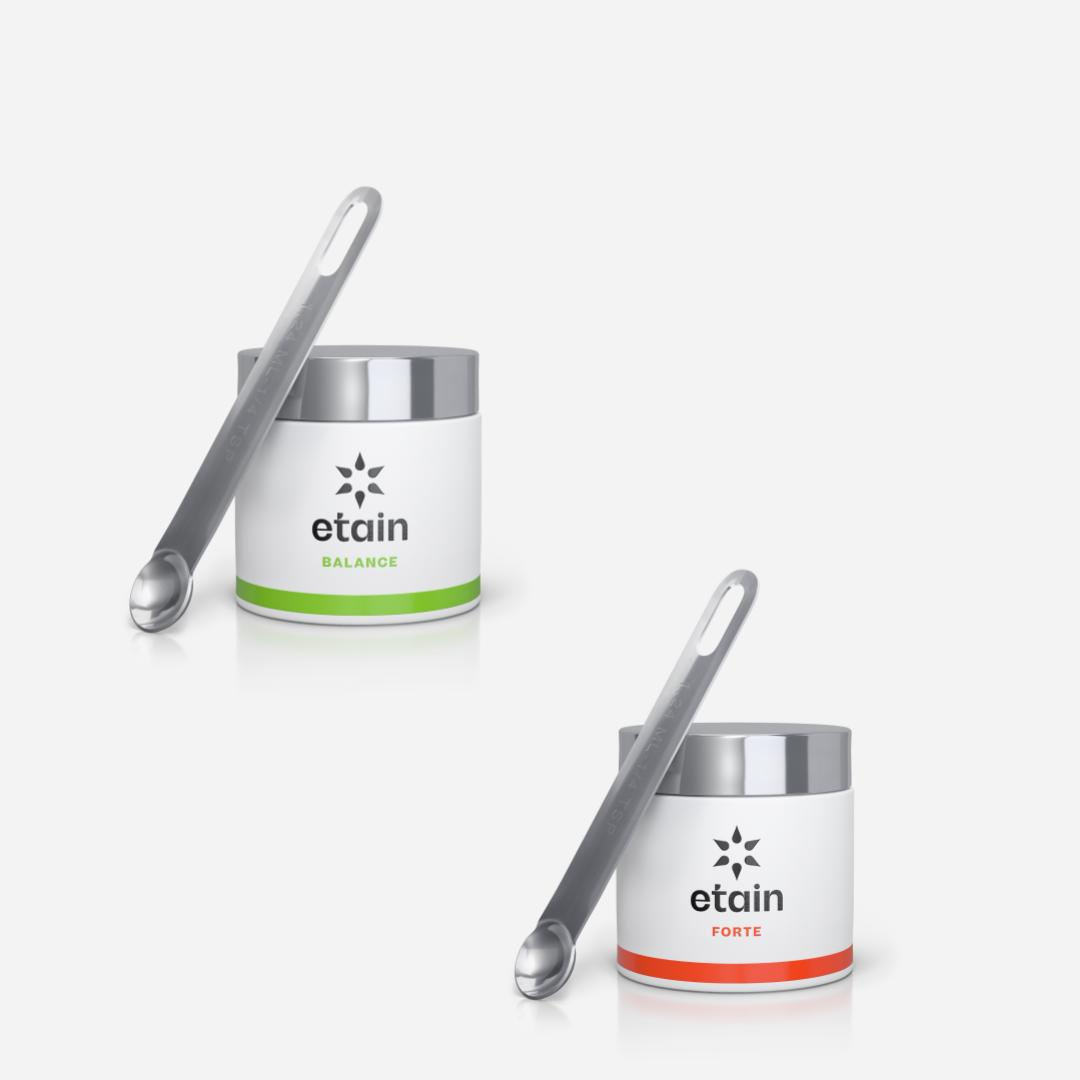 etain powder jars with spoons